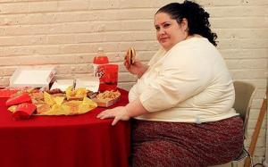fat woman eating McDonalds