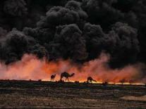 Kuwait ignites its oil wells during Gulf War.