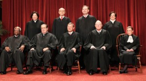 l-R Front Row - Clarence Thomas, Antonin Scalia, John Roberts, Anthony Kennedy and Ruth Bader Ginsgurg Ginsburg. Standing - Sonia Sotomeyer, Stephen Breyer, Samuel Alito and Elena Kagan