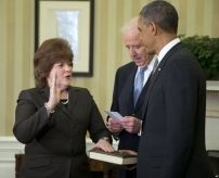Julia Pierson, 55, being sworn in as Director of the Secret Service in March of 2013