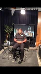 Kendell Smith as he waits to be interviewed by Fox News about his video.
