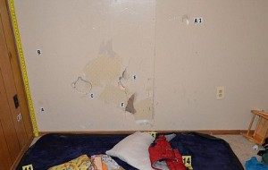 Holes in the wall left by Scotty's head