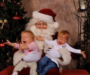 Little children need their mothers even when visiting Santa!