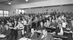 College party 1950s classroom