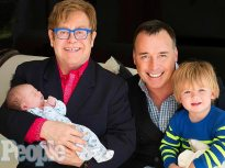 Homosexuals Elton John, and his partner, David Furnish and their surrogate children