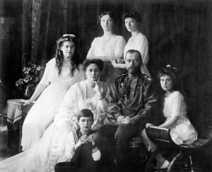The Romanovs - the last royal family of Russia including: seated (left to right) Maria, Tzarina Alexandra, Tzar Nicholas II, Anastasia, Alexei (front), and standing (left to right), Olga and Tatiana.